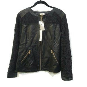$159 Chico's Quilted Faux Leather Moto Jacket 1